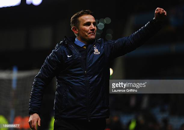Bradford City Manager Phil Parkinson celebrates reaching the final at the end of the Capital One Cup SemiFinal Second Leg between Aston Villa and...