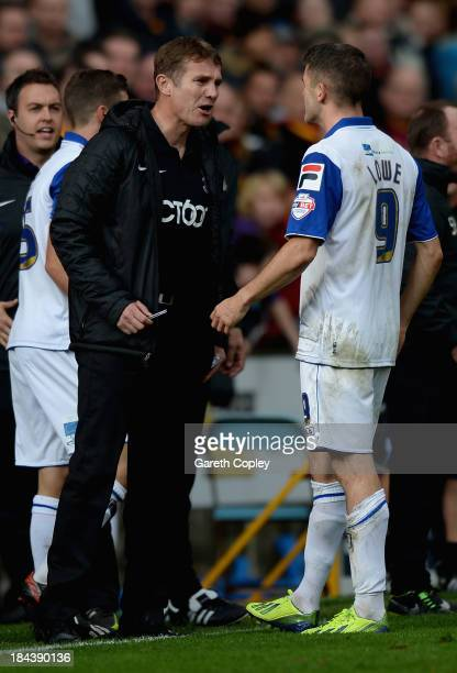 Bradford City Manager Phil Parkinson confronts Ryan Lowe of Tranmere during the Sky Bet League One match between Bradford City and Tranmere Rovers at...