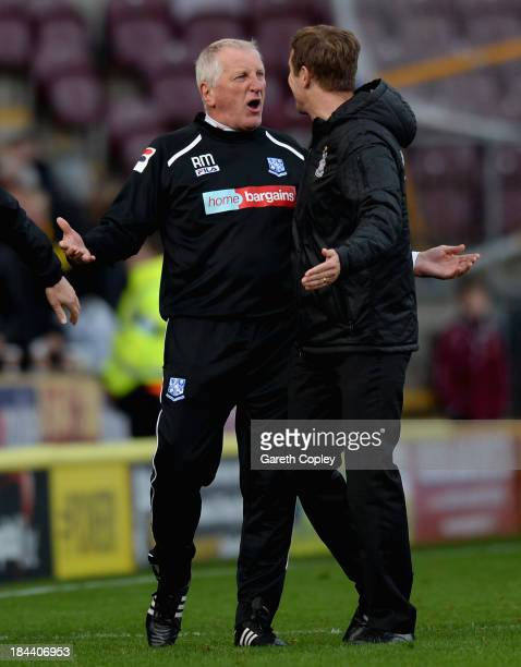 Bradford City manager Phil Parkinson confronts Tranmere manager Ronnie Moore after the Sky Bet League One match between Bradford City and Tranmere...