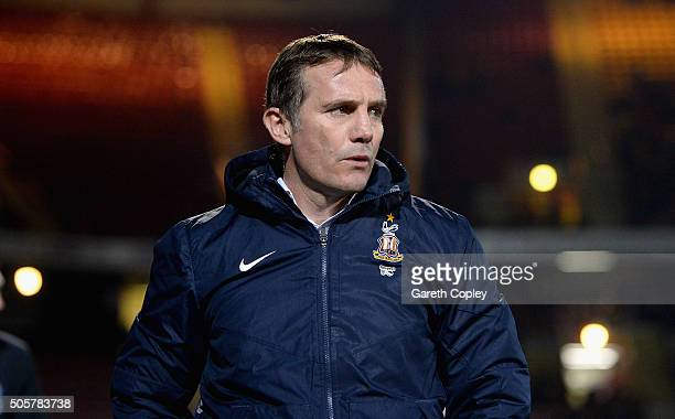 Bradford City manager Phil Parkinson during The Emirates FA Cup Third Round Replay match between Bradford City and Bury at Coral Windows Stadium...