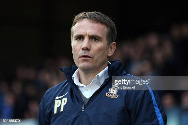 Bradford City manager Phil Parkinson looks on during the Emirates FA Cup Third Round match between Bury and Bradford City at Gigg Lane on January 09...
