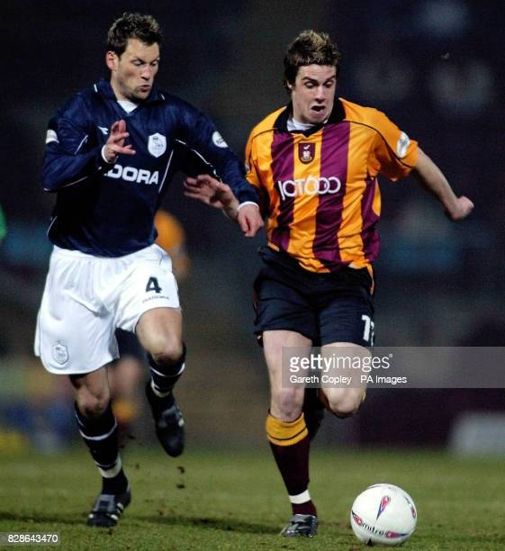 Bradford City's Andy Gray and Sheffield Wednesday's Paul McLaren during their Nationwide Division One game at Valley Parade Bradford PA Photo Gareth...
