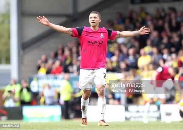 Bradford City's Nahki Wells celebrates as the final whistle is blown