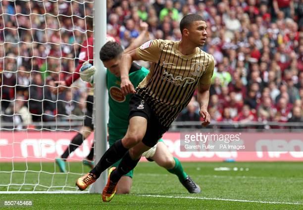 Bradford City's Nahki Wells celebrates scoring his side's third goal of the game
