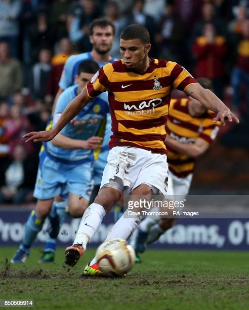 Bradford City's Nahki Wells scores from the penalty spot against Burton Albion during the npower Football League Two Play Off Semi Final First Leg at...