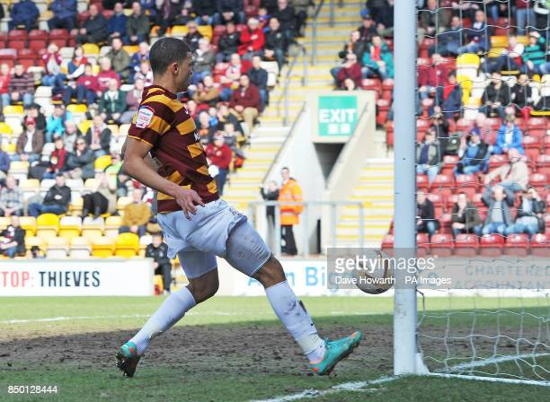 Bradford City's Nahki Wells taps in his team's first goal during the npower Football League Two match at the Coral Windows Stadium Bradford