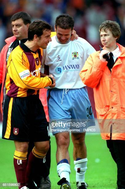 Bradford City's Robbie Blake shakes hands with Burnley's Tony Ellis after the game