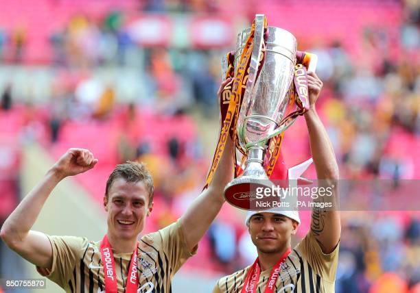 Bradford City's Stephen Darby and Nahki Wells celebrate their victory over Northampton Town