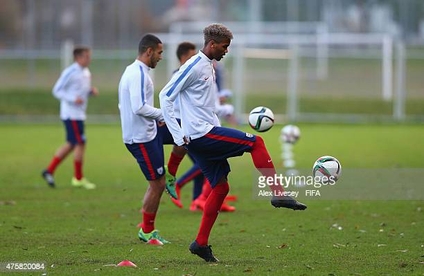 Bradford Jamieson IV of USA controls the ball during a training session at the North Harbour Stadium during the FIFA U20 World Cup on June 4 2015 in...
