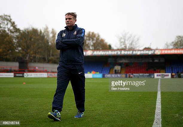 Bradford manager Phil Parkinson looks on ahead of The Emirates FA Cup First Round match between Aldershot Town and Bradford City on November 8 2015...