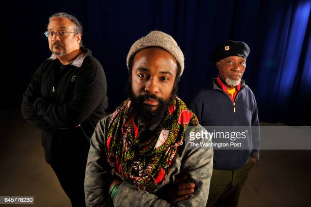 Bradford Young poses for a portrait with guest lecturer director and cinematographer Ernest Dickerson and associate professor emeritus Alonzo...