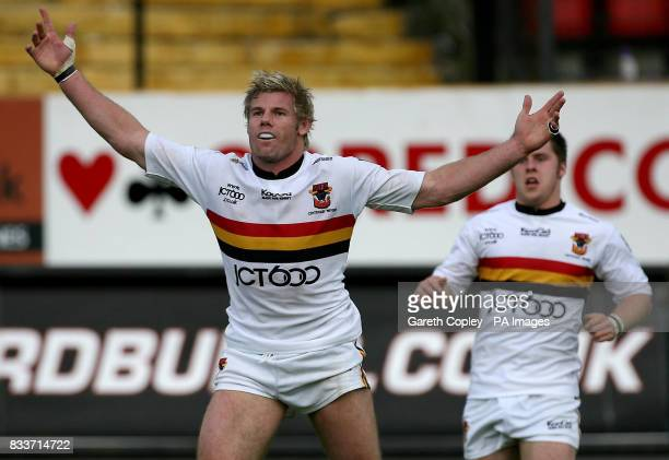 Bradford's Glen Morrison celebrates his try during their engage Super League match at Odsal Stadium Bradford