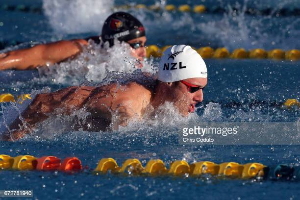 Bradlee Ashby competes in the finals of the men's 200 meter individual medley on day three of the Arena Pro Swim Series Mesa at Skyline Aquatic...