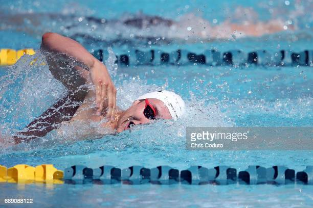 Bradlee Ashby competes in the preliminary heat of the men's 200 meter individual medley on day three of the Arena Pro Swim Series Mesa at Skyline...
