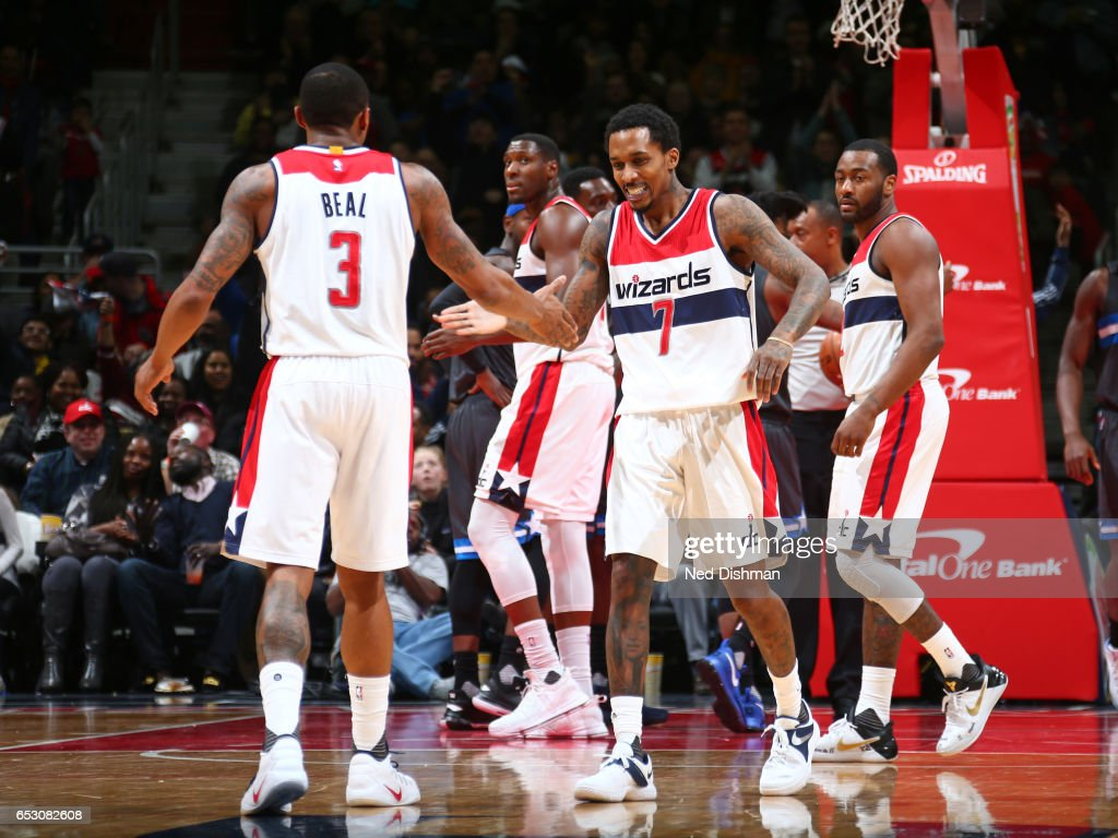 Bradley Beal #3 and Brandon Jennings #7 of the Washington Wizards react during the game against the Orlando Magic on March 5, 2017 at Verizon Center in Washington, DC.
