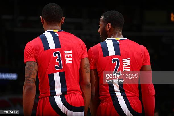 Bradley Beal and John Wall of the Washington Wizards are seen against the Denver Nuggets on December 8 2016 at Verizon Center in Washington DC NOTE...