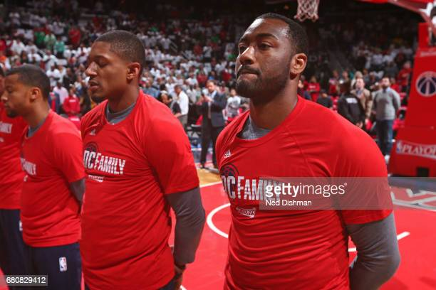 Bradley Beal and John Wall of the Washington Wizards stand on the court before Game Four of the Eastern Conference Semifinals against the Boston...