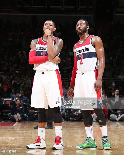 Bradley Beal and John Wall of the Washington Wizards during the game against the New York Knicks on January 7 2015 at Verizon Center in Washington DC...