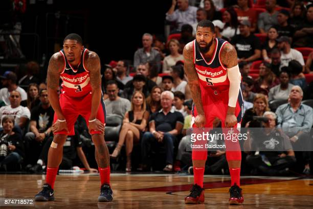 Bradley Beal and Markieff Morris of the Washington Wizards look on during the game against the Miami Heat at the American Airlines Arena on November...