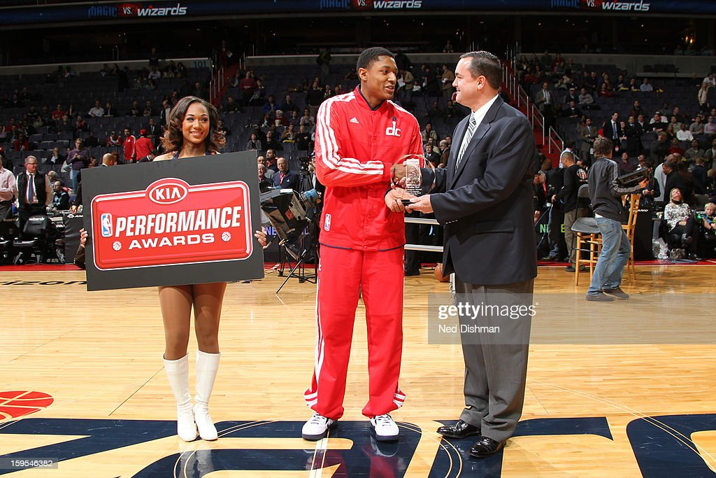 Bradley Beal #3 of the Washington Wizards accepts his Kia Rookie of the Month Award before the game against the Orlando Magic at the Verizon Center on January 14, 2013 in Washington, DC.