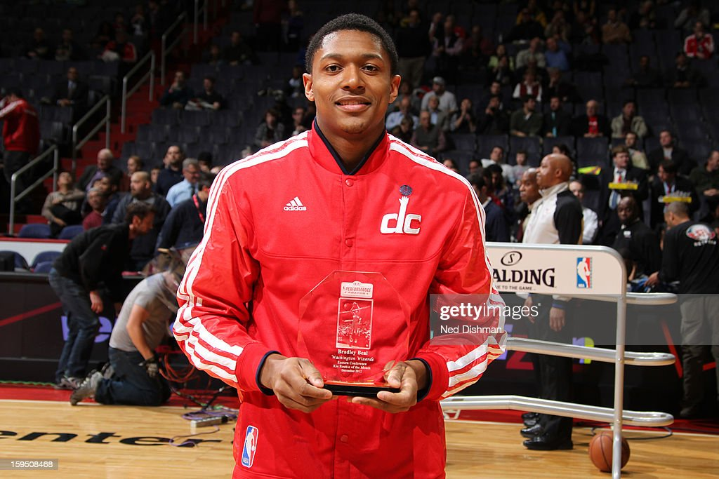 Bradley Beal #3 of the Washington Wizards accepts the Kia Rookie of the Month Award before the game against the Orlando Magic at the Verizon Center on January 14, 2013 in Washington, DC.