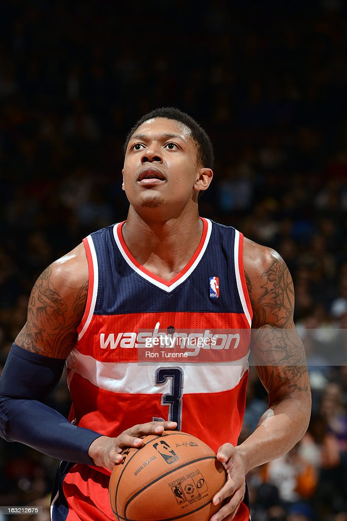 Bradley Beal #3 of the Washington Wizards attempts a foul shot against the Toronto Raptors on February 25, 2013 at the Air Canada Centre in Toronto, Ontario, Canada.