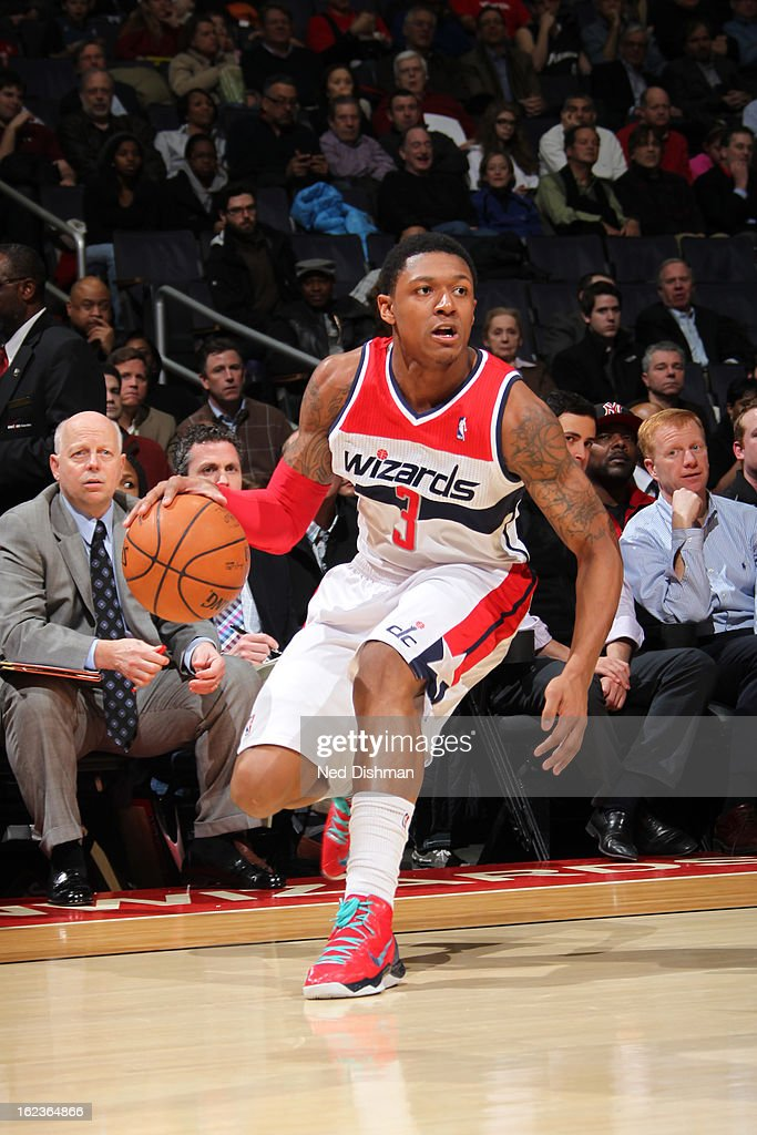<a gi-track='captionPersonalityLinkClicked' href=/galleries/search?phrase=Bradley+Beal&family=editorial&specificpeople=7640439 ng-click='$event.stopPropagation()'>Bradley Beal</a> #3 of the Washington Wizards brings the ball up court against the Toronto Raptors at the Verizon Center on February 19, 2013 in Washington, DC.
