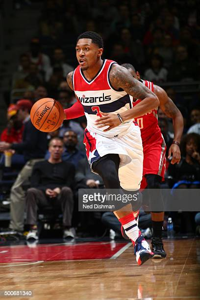 Bradley Beal of the Washington Wizards brings the ball up court against the Houston Rockets on December 9 2015 at Verizon Center in Washington DC...