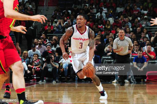 Bradley Beal of the Washington Wizards brings the ball up court during the game against the Atlanta Hawks in Game Five of the Eastern Conference...