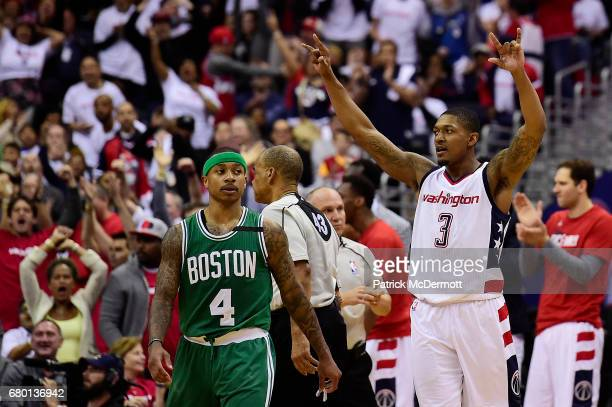 Bradley Beal of the Washington Wizards celebrates after a basket in the third quarter against the Boston Celtics in Game Four of the Eastern...