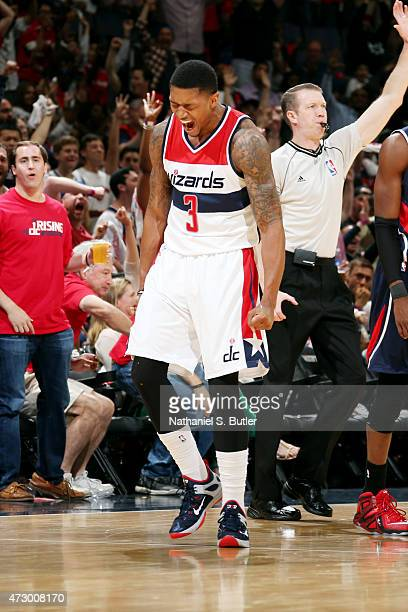 Bradley Beal of the Washington Wizards celebrates during a game against the Atlanta Hawks in Game Four of the Eastern Conference Semifinals of the...