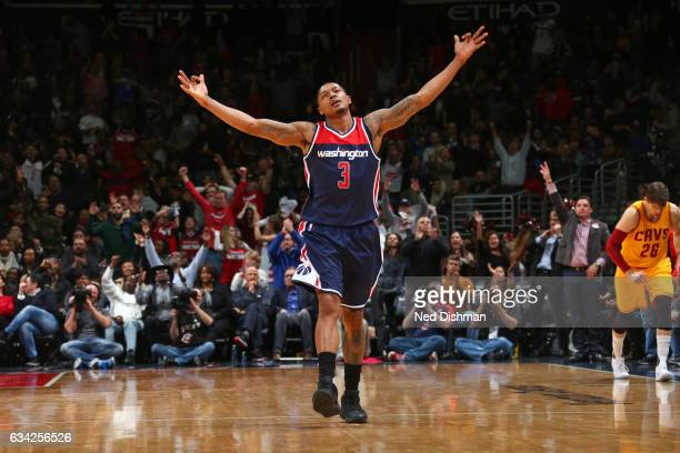 Bradley Beal of the Washington Wizards celebrates during the game against the Cleveland Cavaliers uring the game on February 6 2017 at Verizon Center...