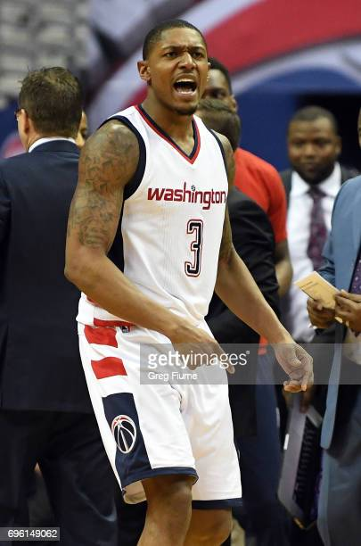 Bradley Beal of the Washington Wizards celebrates during the game against the Boston Celtics in Game Three of the Eastern Conference Semifinals at...
