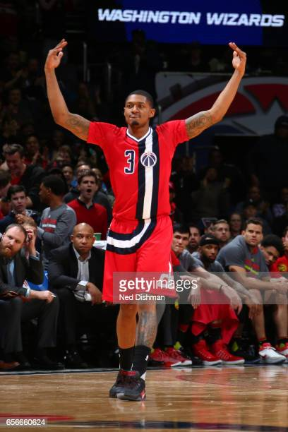 Bradley Beal of the Washington Wizards celebrtes against the Atlanta Hawks on March 22 2017 at Verizon Center in Washington DC NOTE TO USER User...