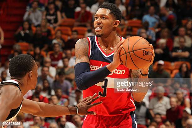 Bradley Beal of the Washington Wizards defends the ball against the Miami Heat during the game on December 7 2015 at American Airlines Arena in...