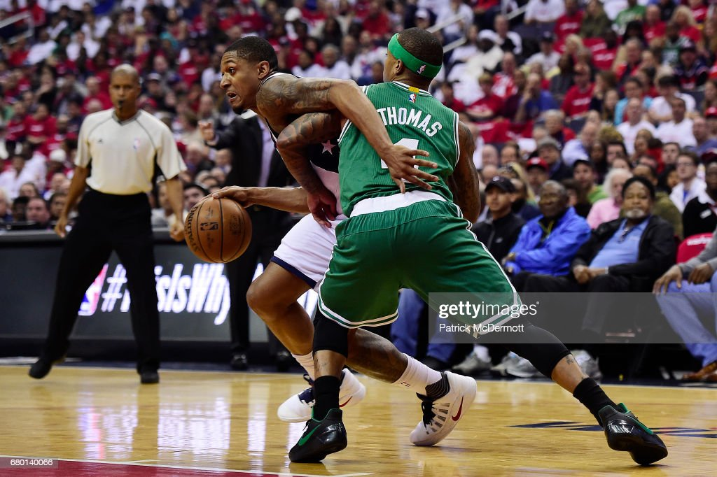 Bradley Beal #3 of the Washington Wizards dribbles the ball against Isaiah Thomas #4 of the Boston Celtics in the first half in Game Four of the Eastern Conference Semifinals at Verizon Center on May 7, 2017 in Washington, DC.