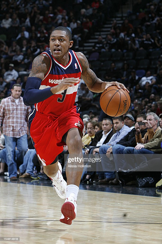 <a gi-track='captionPersonalityLinkClicked' href=/galleries/search?phrase=Bradley+Beal&family=editorial&specificpeople=7640439 ng-click='$event.stopPropagation()'>Bradley Beal</a> #3 of the Washington Wizards dribbles up the court vs the San Antonio Spurs on October 26, 2012 at the AT&T Center in San Antonio, Texas.