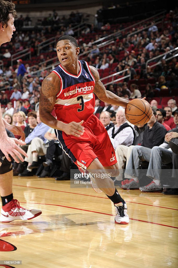 Bradley Beal #3 of the Washington Wizards drives the ball against the Houston Rockets on December 12, 2012 at the Toyota Center in Houston, Texas.