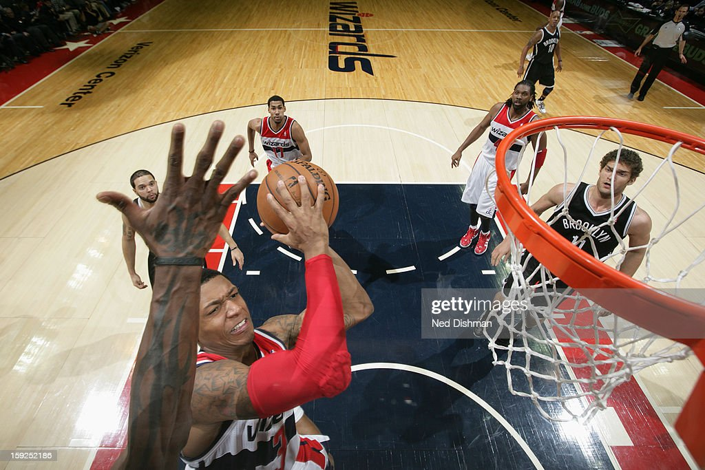 <a gi-track='captionPersonalityLinkClicked' href=/galleries/search?phrase=Bradley+Beal&family=editorial&specificpeople=7640439 ng-click='$event.stopPropagation()'>Bradley Beal</a> #3 of the Washington Wizards drives to the basket against the Brooklyn Nets on January 4, 2013 at the Verizon Center in Washington, DC.