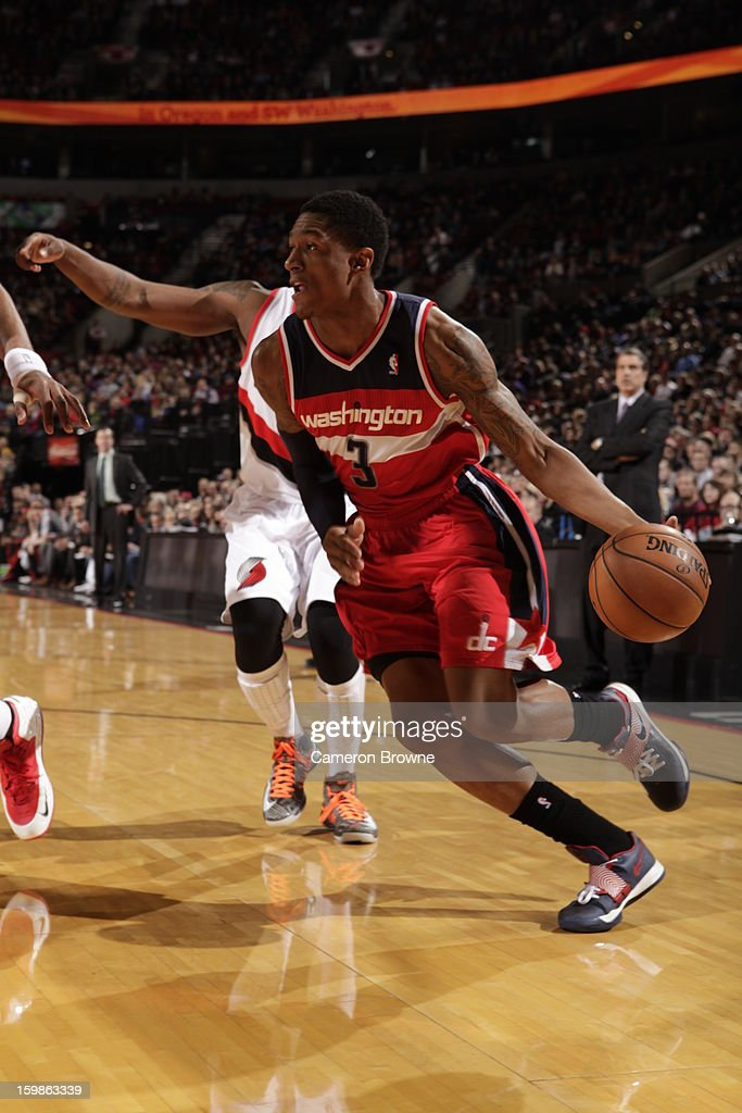 Bradley Beal #3 of the Washington Wizards drives to the basket against the Portland Trail Blazers on January 21, 2013 at the Rose Garden Arena in Portland, Oregon.
