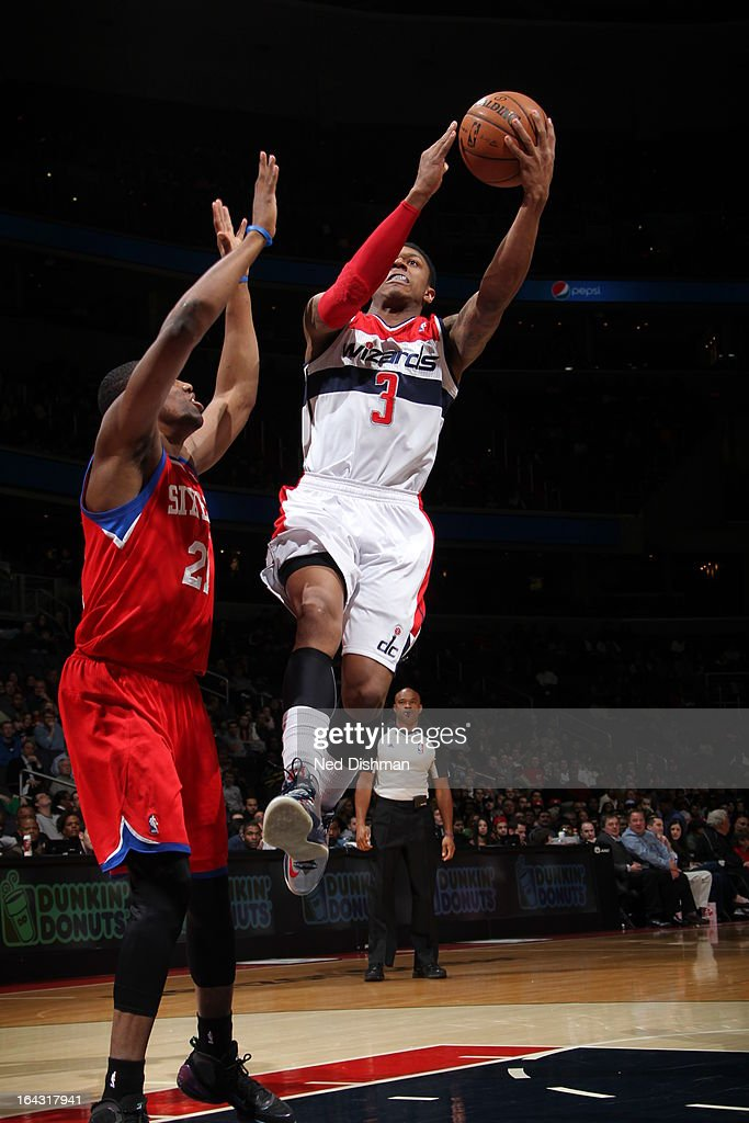 <a gi-track='captionPersonalityLinkClicked' href=/galleries/search?phrase=Bradley+Beal&family=editorial&specificpeople=7640439 ng-click='$event.stopPropagation()'>Bradley Beal</a> #3 of the Washington Wizards drives to the basket against the Philadelphia 76ers at the Verizon Center on March 3, 2013 in Washington, DC.