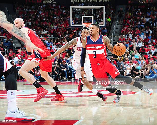 Bradley Beal of the Washington Wizards drives to the basket against the Atlanta Hawks during Game One of the Eastern Conference Semifinals during the...