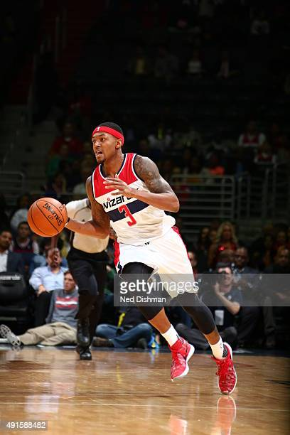 Bradley Beal of the Washington Wizards drives to the basket against the Philadelphia 76ers during a preseason game on October 6 2015 at Verizon...