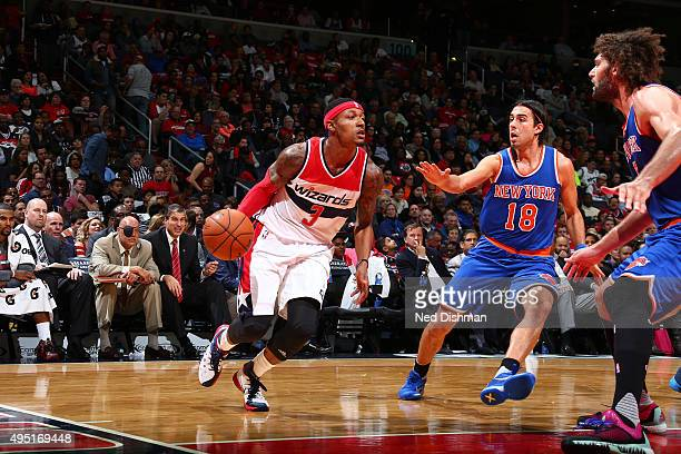 Bradley Beal of the Washington Wizards drives to the basket against the New York Knicks during the game on October 31 2015 at Verizon Center in...