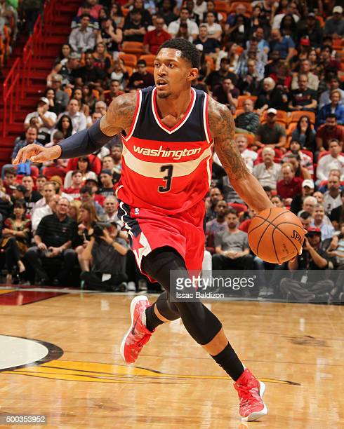 Bradley Beal of the Washington Wizards drives to the basket against the Miami Heat during the game on December 7 2015 at American Airlines Arena in...