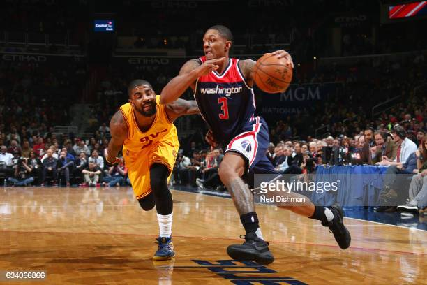 Bradley Beal of the Washington Wizards drives to the basket against Kyrie Irving of the Cleveland Cavaliers during the game on February 6 2017 at...