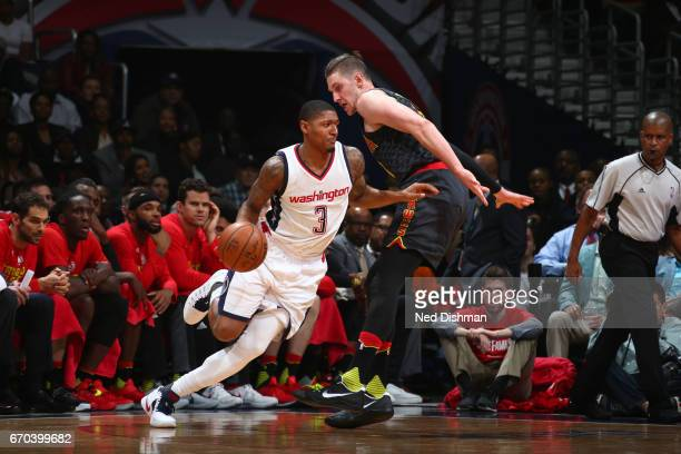 Bradley Beal of the Washington Wizards drives to the basket against the Atlanta Hawks during the Eastern Conference Quarterfinals of the 2017 NBA...