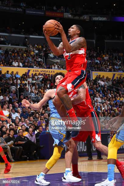 Bradley Beal of the Washington Wizards drives to the basket against the Los Angeles Lakers on October 25 2017 at STAPLES Center in Los Angeles...