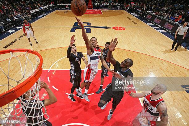 Bradley Beal of the Washington Wizards drives to the basket and shoots the ball against the Minnesota Timberwolves on January 6 2017 at Verizon...