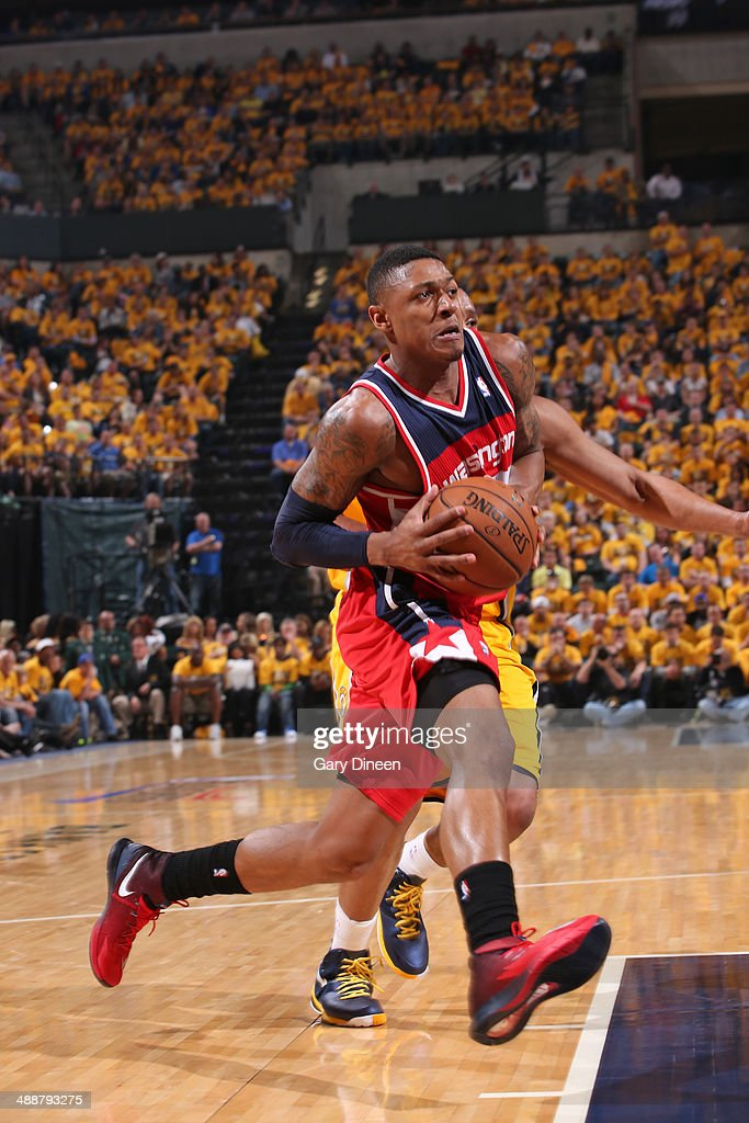 <a gi-track='captionPersonalityLinkClicked' href=/galleries/search?phrase=Bradley+Beal&family=editorial&specificpeople=7640439 ng-click='$event.stopPropagation()'>Bradley Beal</a> #3 of the Washington Wizards drives to the basket during Game One of the Eastern Conference Semifinals against the Indiana Pacers on May 5, 2014 at Bankers Life Fieldhouse in Indianapolis, Indiana.